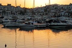Puerto Banus marina at sunset. Royalty Free Stock Photography