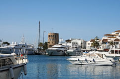 Puerto Banus. One of the most famous spots in Marbella is the Puerto Banus marina, built in 1970 by Jose Banus, a local property developer, as a luxury marina stock photo