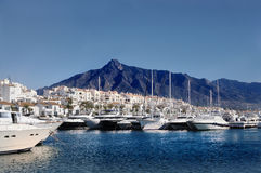 Puerto Banus. One of the most famous spots in Marbella is the Puerto Banus marina, built in 1970 by Jose Banus, a local property developer, as a luxury marina stock photos