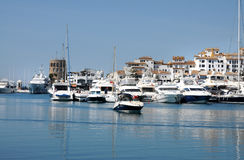 Puerto Banus. One of the most famous spots in Marbella is the Puerto Banus marina, built in 1970 by Jose Banus, a local property developer, as a luxury marina stock photography