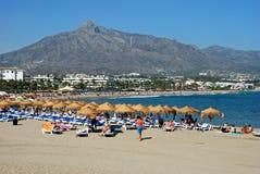 Puerto Banus strand, Marbella arkivbilder