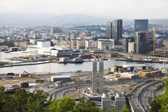 Puerto céntrico en Oslo, Noruega Foto de archivo libre de regalías