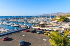 Puerto Calero小游艇船坞看法  免版税库存照片