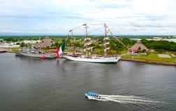 Puerto Chiapas, Mexico. Mexican Navy ship and Tall ship in Port. royalty free stock photos