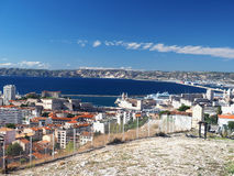 Puerto con el puerto de los barcos de Marsella Francia Fotografía de archivo