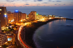 Puerto Cruz. Night view of puerto cruz, canary-islands Stock Photos