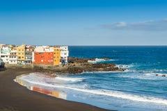 Puerto Cruz best ocean beach with black sand Royalty Free Stock Photography