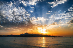Puerto de Alcudia beach at sunrise in Mallorca, Balearic is Royalty Free Stock Photography