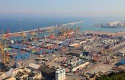 Puerto de Barcelona, en España Foto de archivo libre de regalías