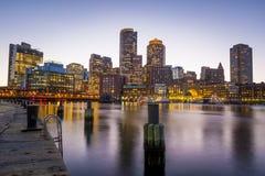 Puerto de Boston y distrito financiero Fotos de archivo libres de regalías