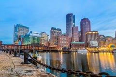 Puerto de Boston y distrito financiero Imágenes de archivo libres de regalías