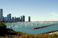 Puerto de Chicago y embarcadero de la marina Foto de archivo libre de regalías