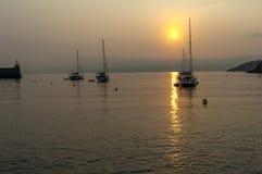 Puerto de Collioure de la salida del sol Foto de archivo libre de regalías