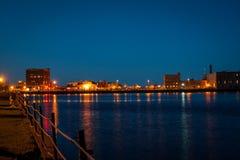 Puerto de Duluth en la noche Imágenes de archivo libres de regalías