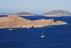 Puerto de Emborio, Halki Fotografía de archivo