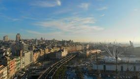 Puerto de Génova por el aire fotos de archivo libres de regalías
