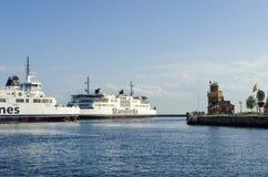 Puerto de Helsingborg de los transbordadores Imagen de archivo libre de regalías