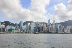 Puerto de Hong Kong en el tiempo 2017 del día Fotografía de archivo libre de regalías