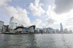 Puerto de Hong Kong en el tiempo 2017 del día Fotografía de archivo