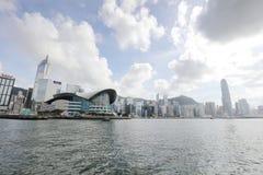 Puerto de Hong Kong en el tiempo 2017 del día Imagen de archivo