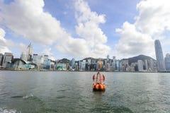 Puerto de Hong Kong en el tiempo 2017 del día Imagenes de archivo
