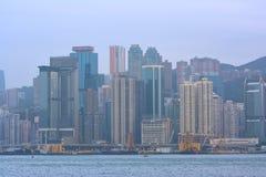 Puerto de Hong-Kong Victoria en la niebla, año de 2013 Fotos de archivo libres de regalías