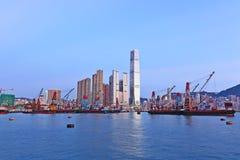 Puerto de Hong-Kong y nave de trabajo Foto de archivo libre de regalías