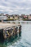 Puerto de Honningsvag en el marco finlandés, Noruega Imagen de archivo