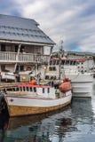 Puerto de Honningsvag en el marco finlandés, Noruega Fotos de archivo libres de regalías