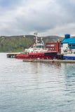 Puerto de Honningsvag en el marco finlandés, Noruega Foto de archivo libre de regalías