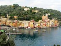 Puerto de la ciudad de Portofino con los veleros Imagen de archivo libre de regalías
