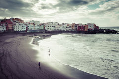 Puerto de la Cruz, Espagne 20 mars 2015 : Plage à Puerto de la Cruz Images libres de droits