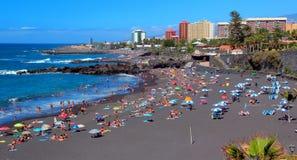 Puerto de la Cruz , Playa Jardin ,Tenerife ,Canarian Islands. Beautiful black sand beach in Tenerife island Royalty Free Stock Images