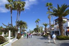 Puerto de la Cruz promenad i Tenerife, kanariefågelöar Arkivfoto
