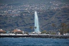 Puerto de la Cruz, Tenerife - April 12, 2017: view of the townscape and the coastline on a sunny day. Fountains of Lago Martianez stock photos