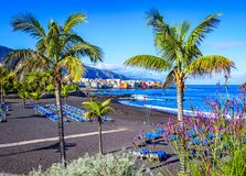 Puerto de la Cruz, Tenerife, Canary Islands, Spain: Famous beach Playa Jardin with black sand Stock Image