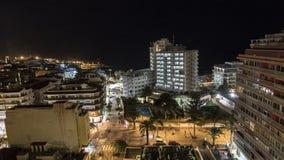 PUERTO DE LA CRUZ TENERIFE, HISZPANIA, LUTY,/- 22 2018: NOC pejzażu miejskiego widok OD balkonu zdjęcie wideo