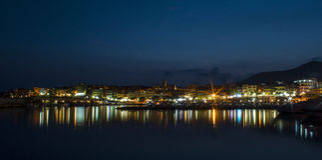 Puerto de la noche Foto de archivo libre de regalías