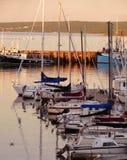 Puerto de la puesta del sol Foto de archivo libre de regalías