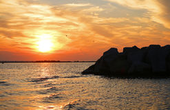 Puerto de la puesta del sol Fotos de archivo