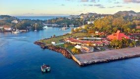 Puerto de la travesía en St Lucia fotografía de archivo