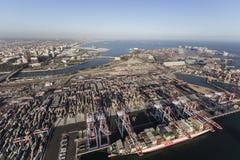 Puerto de la visión aérea de Long Beach Imágenes de archivo libres de regalías