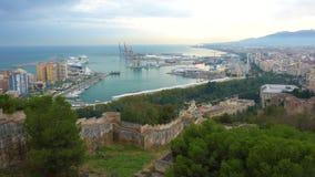 Puerto de Málaga, Costa del Sol, España almacen de metraje de vídeo