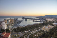 Puerto de Málaga de Gibralfaro Fotografía de archivo libre de regalías