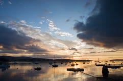 Puerto de Maine en la salida del sol imagen de archivo libre de regalías