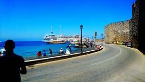 Puerto de Mandraki Foto de archivo libre de regalías