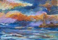 Puerto de Margate y mar tempestuoso Imagen de archivo libre de regalías