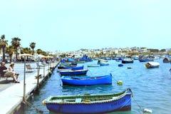 Puerto de Marsaxlokk, Malta foto de archivo libre de regalías