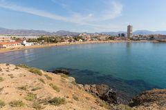 Puerto de Mazarron Spain Playa de la Reya beach royalty free stock image