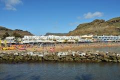 Puerto de Mogan公众海滩 西班牙 库存图片